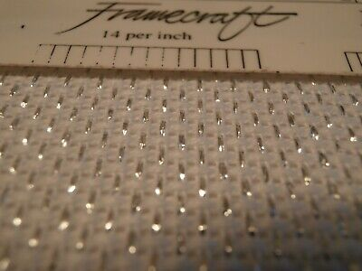 Piece WHITE AIDA WITH SILVER THREAD 14 count embroidery cross stitch fabric