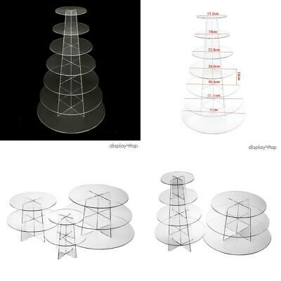 Display4top 7 Tier Round Cupcake Stand Acrylic Display for New 7
