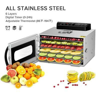 GCSJ Stainless Steel 6 Layers Food Dehydrator, 30~90°C Temperature Setting,...
