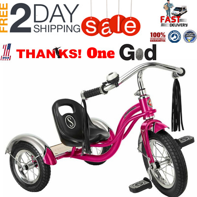 66c0c5a09f5 Schwinn Roadster Tricycle with Classic Bicycle Bell and Handlebar Tassels  Featu