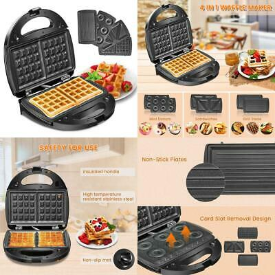 Godmorn Waffle Maker 4 in 1, Sandwich Toaster, Panini Press Grill, Donut...