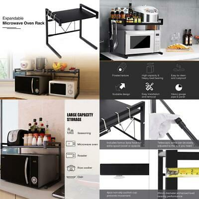 GEMITTO Extendable Microwave Oven Rack Heavy Load Shelf Stand with 3 Hanging...
