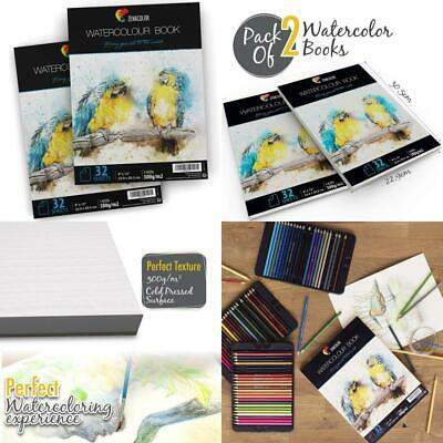 """⭐2 x Watercolour Paper Pad A4 for Painting - Size (9"""" x 12"""") - 2 x 32 White..."""