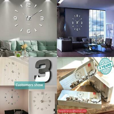 Frameless Large 3D DIY Wall Clock Mute Mirror Stickers Home Office School...