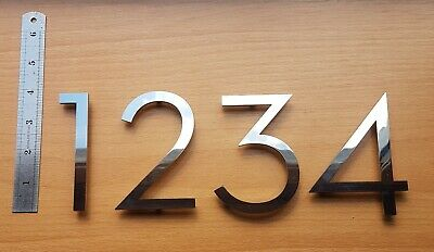 """Large floating house/door numbers 3mm solid mirror stainless steel 4""""/100mm"""