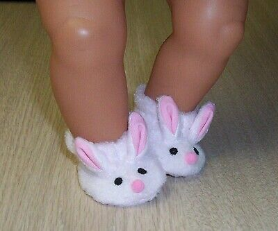"BABY BORN BUNNY SLIPPERS 16/ 17"" 43cm DOLLS Shoes Clothes Booties 13"" B. ALIVE"