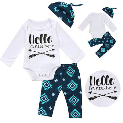 Newborn Baby Boy Girl Hello I'm New Here Arrow Romper+Pants Leggings Outfits Set