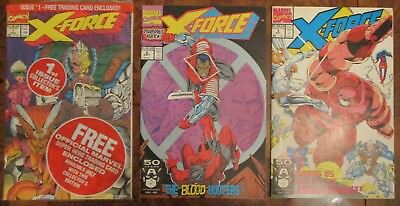 X-Force 1 2 3 2nd Appearance of Deadpool 1991 Bagged Rob Liefeld Cable X-Men