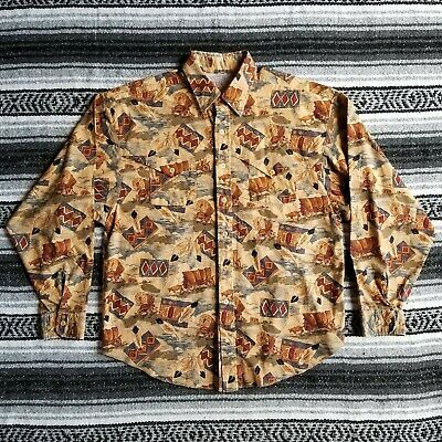 Vtg Unbranded Sz L / XL Casual Button Down Western Shirt Carriage Wagon Print