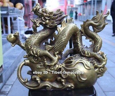 51 cm China Pure Bronze Brass Wealth Fengshui animal Dragon bottle gourd Statue