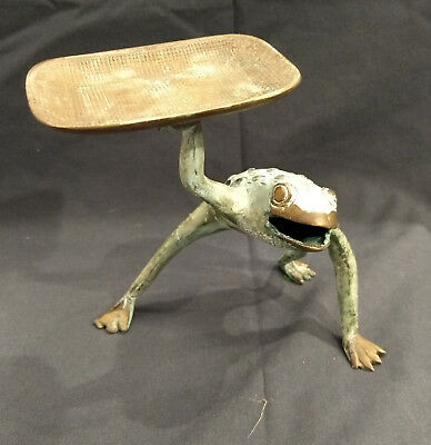 Brass Frog Holding a Tray - Card Holder - Soap Dish - Vintage