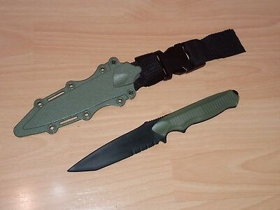 RUBBER TRAINING KNIFE PLASTIC with Sheath AIRSOFT Martial art Practice Green