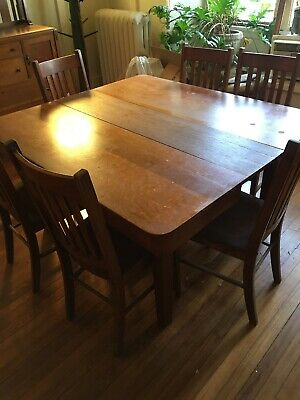 ANTIQUE DINING ROOM Set Arts And Crafts Mission Stickley ...
