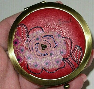 FOSSIL Compact Pocket Mirror Brass Red Leather Stitched & Beaded Flower