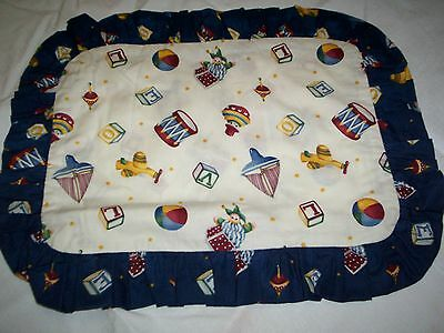 Pillow Sham Cream and Blue with Jack in the box and tops