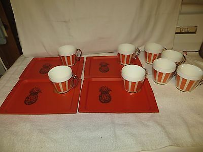 4 Vtg Mid-Century ACCA/David Douglas Snack Trays & 8 NFC Insulated Cups - 12 pcs