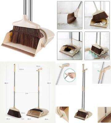 Rotatable Broom and Dustpan Foldable Set, Long Handle Dustpan, Extendable...