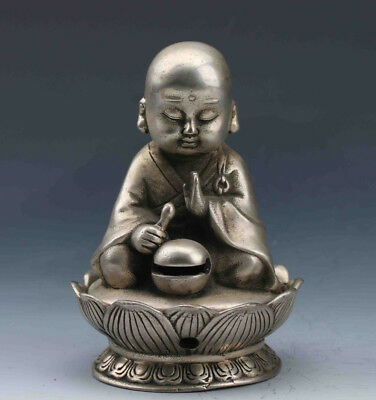 China handmade Tibet Silver Copper HAND-CARVED INCENSE BURNER&SEATED BUDDHA LID