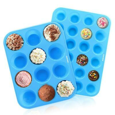 Ankway Silicone Muffin Tray (Pack of 2)- 12&24 Cups Resuable Bakeware Set...