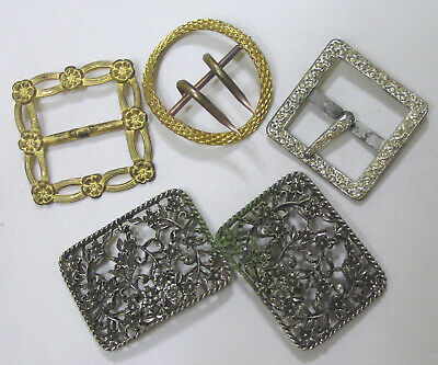 Vintage LOT FIVE Ladies Belt Buckles 1920s-40s Brass - Silvertone