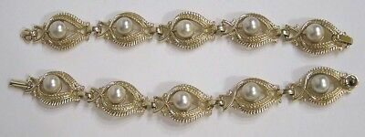 Vintage Jewelry Pair of Matching Bracelets Large Faux Pearls in Ornate Goldtone