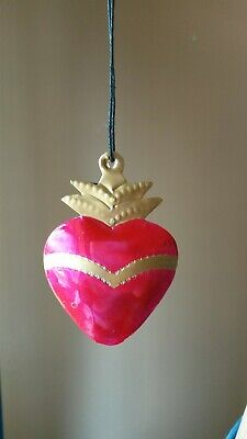 Mexican tin heart pendant