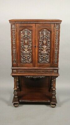 Antique 1920's Spanish Revival Tudor Carved Two Door Walnut Cabinet (11783)