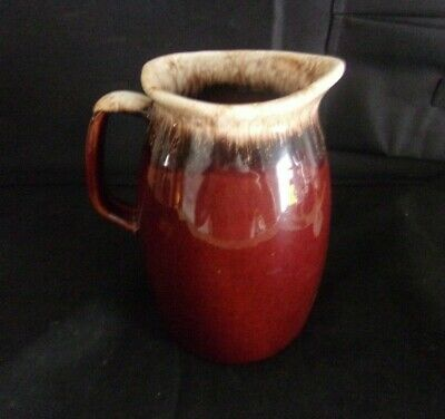 """Vintage Hull Oven Proof Brown Drip Pitcher  6 1/2"""" USA Pottery DISPLAYED ONLY"""