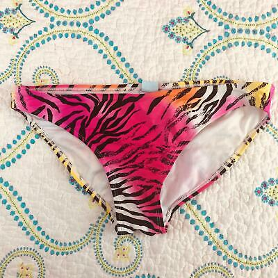a9f909658d1f5 HOT WATER WOMEN'S Bikini Bottom Multi Color Size Large L Neon tiger Animal  Print