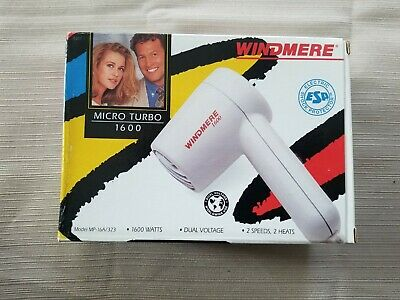 Windmere Micro Turbo 1600 Dual Voltage 2 Speed 2 Heats Compact Travel Hair Dryer