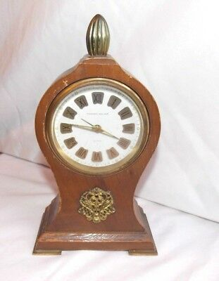 Vtg, Phinney Walker Mantel Alarm Clock Germany Wood Brass Parts Only Non Working