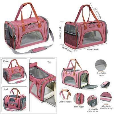 Louvra Airline Approved Cat Carrier Bag Soft Pink Fabric Pet One Size,
