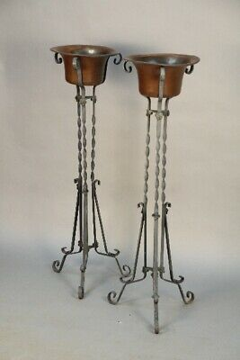 Antique Pair Of Spanish Revival Tudor 1920's Planters On Iron Stand (11786)
