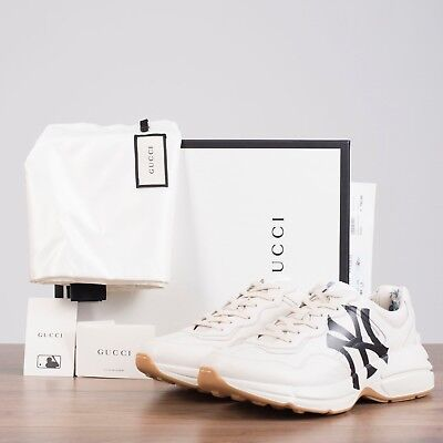 c1df37e0f GUCCI 890$ Men's Rhyton sneaker with NY Yankees™ print In White Leather