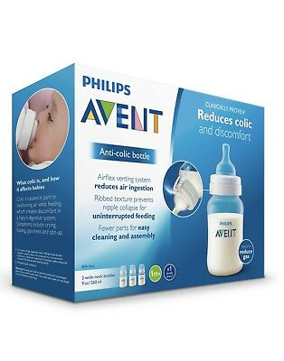 NEW Philips Avent Anti-Colic Baby Bottles 3 pack 9 oz Wide Neck 1m+