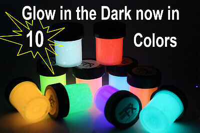 Glow in the Dark 10 x 1oz color day visible and UV Black Light reactive paint