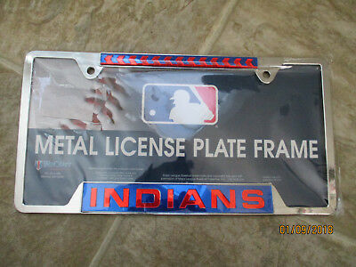 Metal License Plate Frame Cleveland Indians WinCraft Made in the USA Baseball