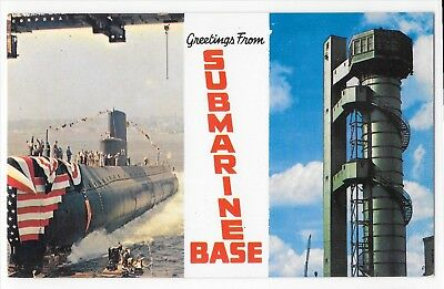 Unposted Greetings from Submarine Base New London CT USS Seawolf Postcard