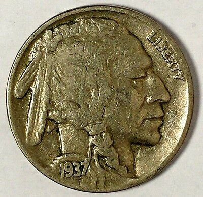 1937-P 5C Buffalo Nickel, 17lsr0802-3 Only 50 Cents for Shipping