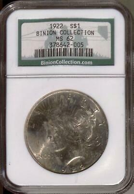 1922 Peace Dollar | NGC MS62 | Binion Collection | Silver $1 | Casino  (RC15077)