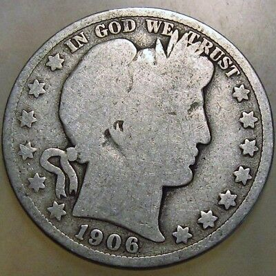 1906-D 50C Barber Half Dollar, 17rtl2508 90% Silver 50 Cents Shipping