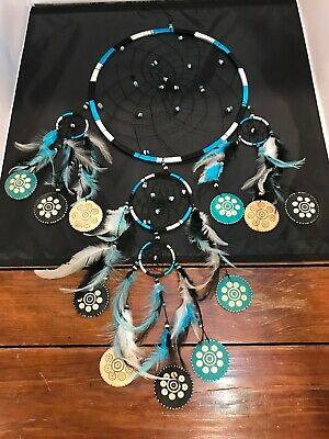 Large 30X24 Authentic Native American Indian GOURD Feathers Dream Catcher
