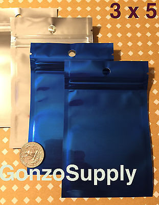 "250PC Clear Front Blue 3x5"" Ziplock Mylar Bags-Products Storage Merchandise Food"