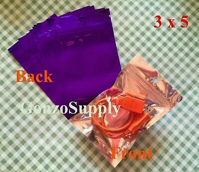 "3x5"" 100pc Clear Purple Mylar ZipLock Bags-Food Crafts Products Seeds Gift Bags"