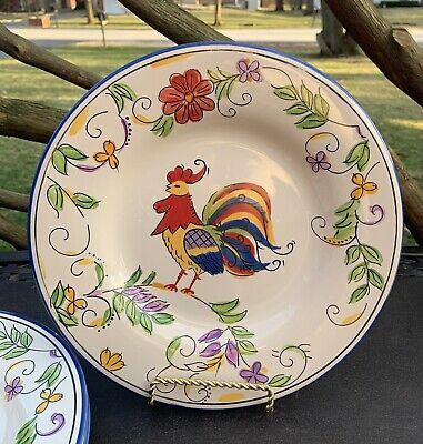 "Tabletops Gallery Rooster Dinner Plates Blue Petri 10-3/4"" - Set of 3"