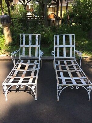 Pair of Fancy Antique Wrought Iron Chaise Lounges