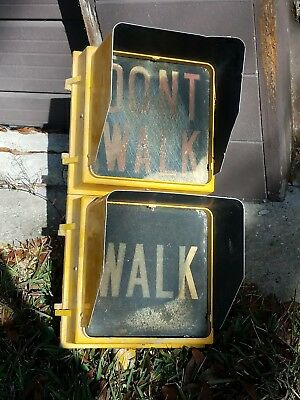 Large Metal Walk Dont Walk Sign Light Street Lamp