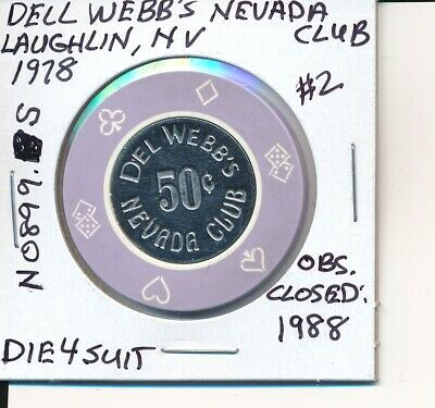 $.50 Casino Chip Del Webb's Nevada Club Laughlin Nv 1978 Die4Suits #N0899.S  #2