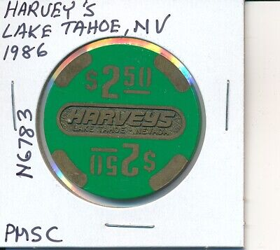 $2.50 Casino Chip Harvey's Lake Tahoe Nv 1986 Pmsc #N6783 Gambling Token Slots