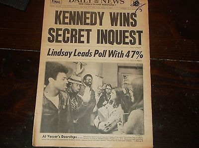Vintage New York Daily News KENNEDY WINS SECRET INQUEST Oct.31,1969